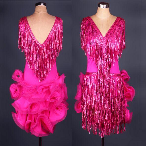 2016 de gama alta de las mujeres vestido latino de baile lentejuelas personalizadas borla de la señora latino salón de baile vestidos de baile Regatas Femininas Dancewear vestido