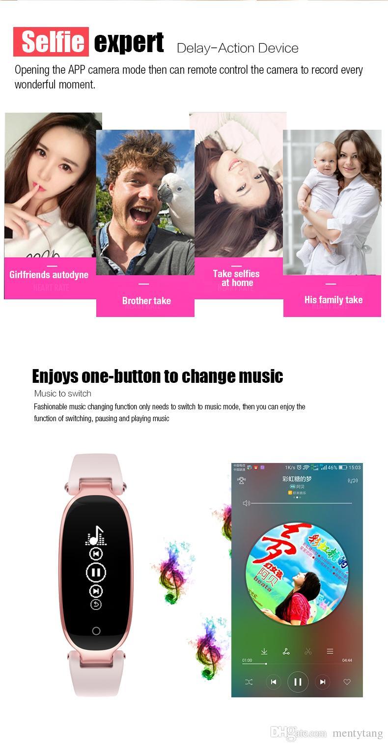 S3 Bluetooth Монитор Сердечного Ритма Smart Band Фитнес-Трекер Леди Браслет С Жестом Управления Шагомер