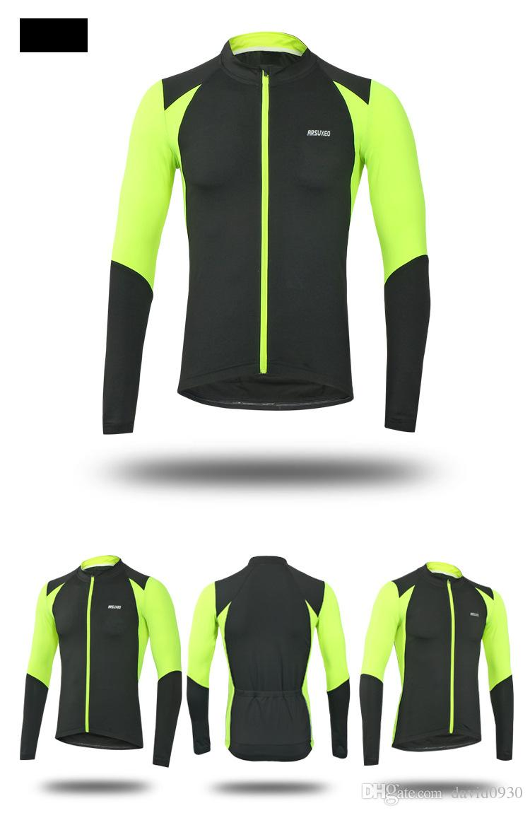 9091be56d Arsuxeo 6023 Men s Long Sleeve Cycling Jersey MTB Bike Bicycle ...