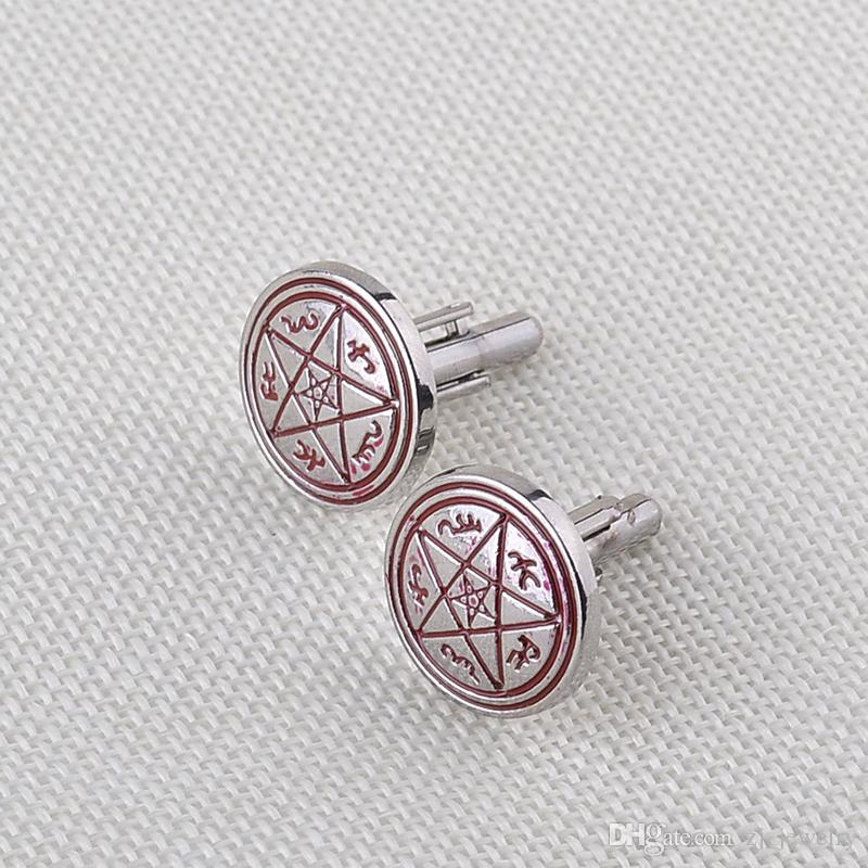 2016 Supernatural Pentagram Unisex Vintage Cufflinks Personality Crystal Classic Brand Wicca Cuff Links For Patry zj-0903787
