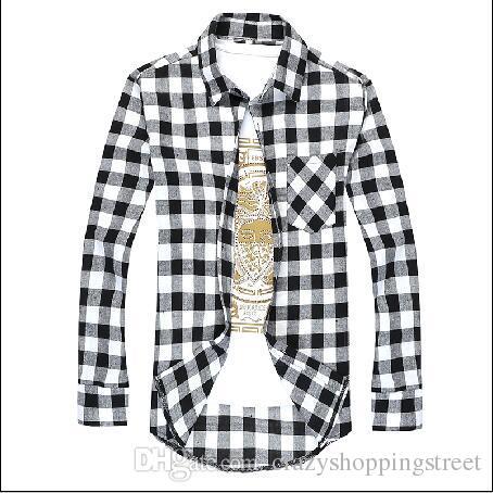 Camicia a quadri casual a maniche lunghe in flanella a maniche lunghe da uomo Camicie eleganti a quadretti Slim Fashion Spedizione gratuita