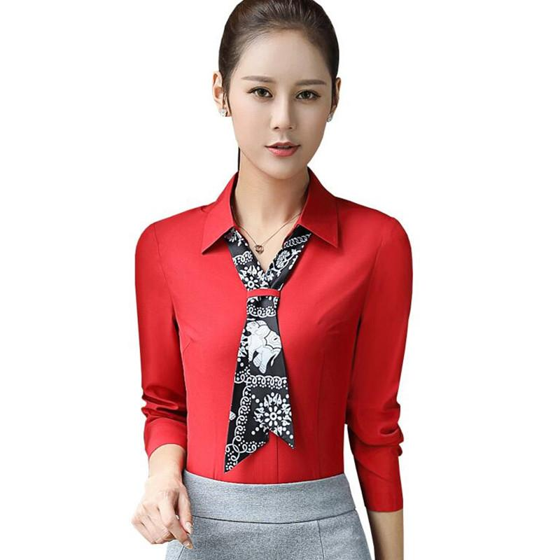 3f5a3bb9583 2019 Fashion Women Red Clothing Long Sleeve Slim Bow Tie Shirt Autumn  Formal Chiffon Blouses Office Ladies Work Wear Plus Size Tops From  Erindolly360b