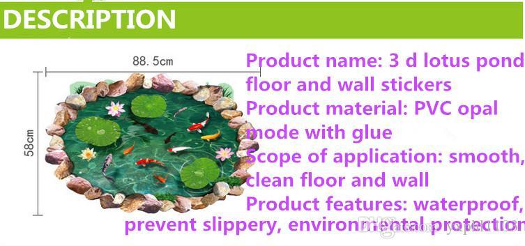 Freie Verschiffenwandaufkleber, Badezimmer ist deco, Schlafzimmerwandaufkleber, reizende Lotosteichgrundfarbenaufkleber 90 * 60CM, wasserdichte Aufkleber
