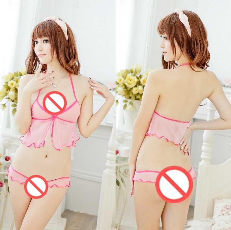 Frete grátis nova lingerie sexy Cosplay sexy underwear perspectiva mulher sexy show de três pontos extremo tentação feminino terno uniforme rendas p