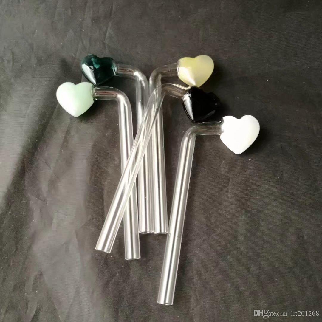 Fogão de dobra de vidro do coração popular europeu e americano do pêssego, acessórios de vidro dos bongs