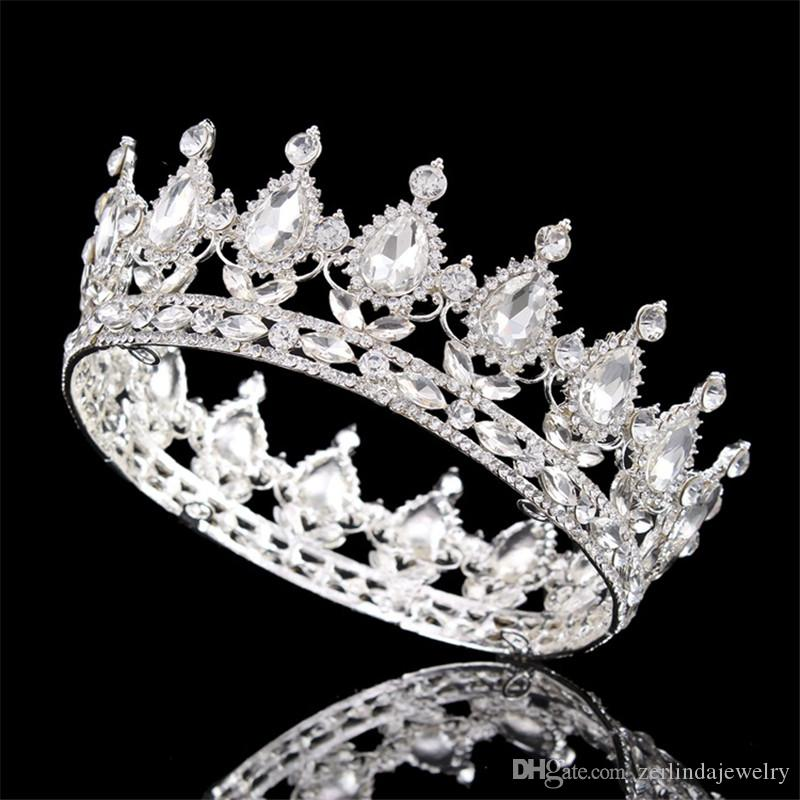 Vintage Fashion Clear Teardrop Rhinestone Bridal crown Silver Plated Tiaras for Women Wedding hair jewelry accessories