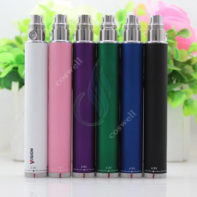 Alta calidad Vision Spin voltaje variable eGo c Twist VV Batería 1300mAh 1100mAh 900mAh 650mAh para cigarrillos electrónicos atomizador de vapor RDA DHL