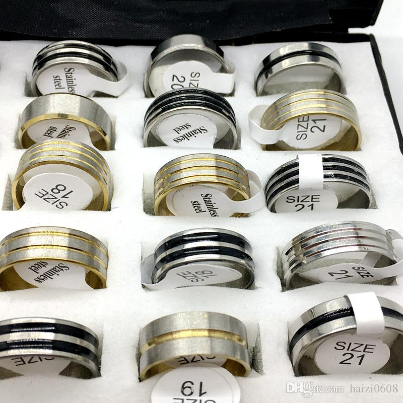 Mix Silver Black Golden Stainless Steel Fashion Mens Women Jewelry Ring Wedding Party Gift Rings Wholesale