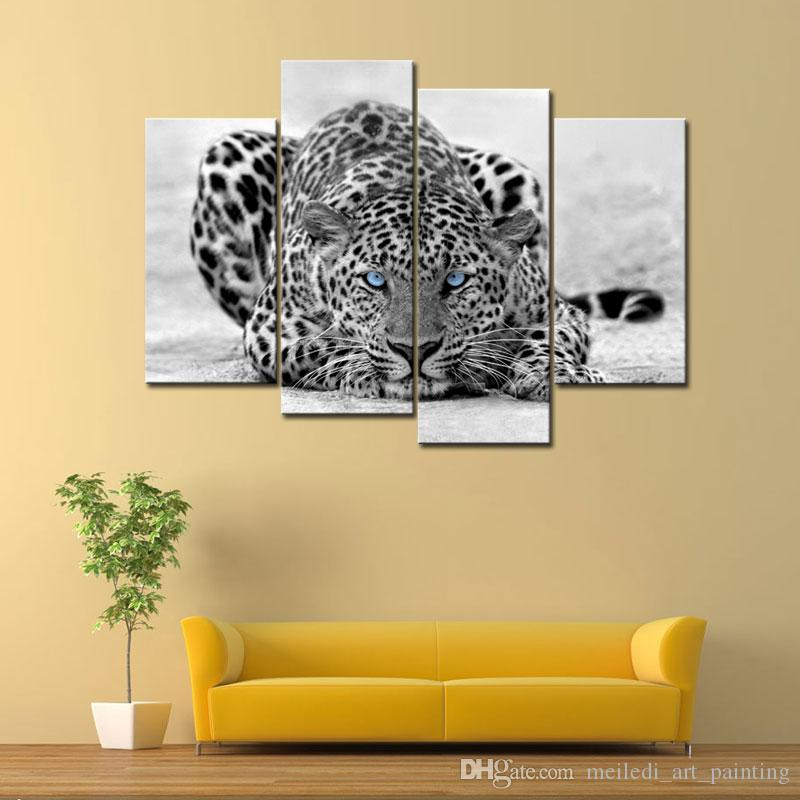 Compre Blanco Y Negro 4 Panel Wall Art Painting Blue Eyed Tiger ...