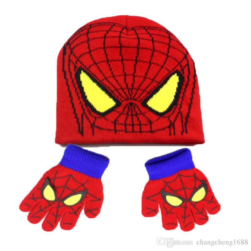 Unisex Spider-Man Knit Bobbles Beanies Hat Set Child Kids Bear Design Caps  And Gloves Warm Set Online with  7.87 Set on Changcheng1688 s Store  c045e3c38162