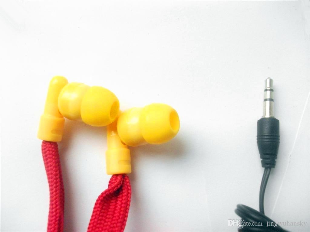 Rojo lavable auricular Drawcord auriculares / ropa lavable auriculares con capucha incorporada MP3 auriculares a prueba de agua 2 unids / lote envío gratis