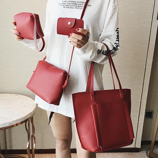 bbd7e312c76 Women PU Leather Handbag Lady Shoulder Bag Tote Purse Messenger Satchel Set 4pcs  Bag 4pcs Leather Bag 4pcs Women Bag Online with  27.51 Set on ...