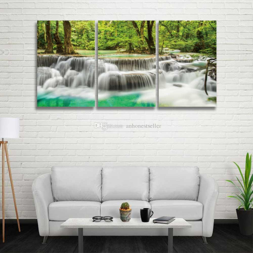 2018 3 Panel Set Hd Prints Canvas Wall Art Waterfall Landscape Painting Green Tree Forest Picture For Home Decor Living Room Bedroom From Anhonester
