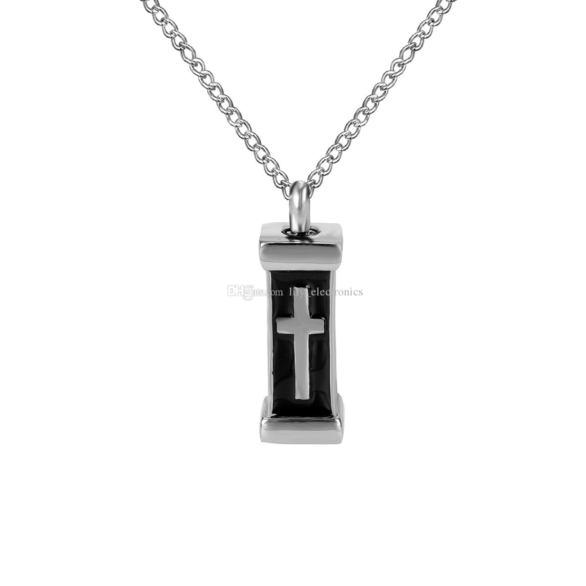 Cremation Jewelry Cross Tombstone Coffin Urn Ashes Necklace Memorial Keepsake Pendant With Gift Bag and Funnel