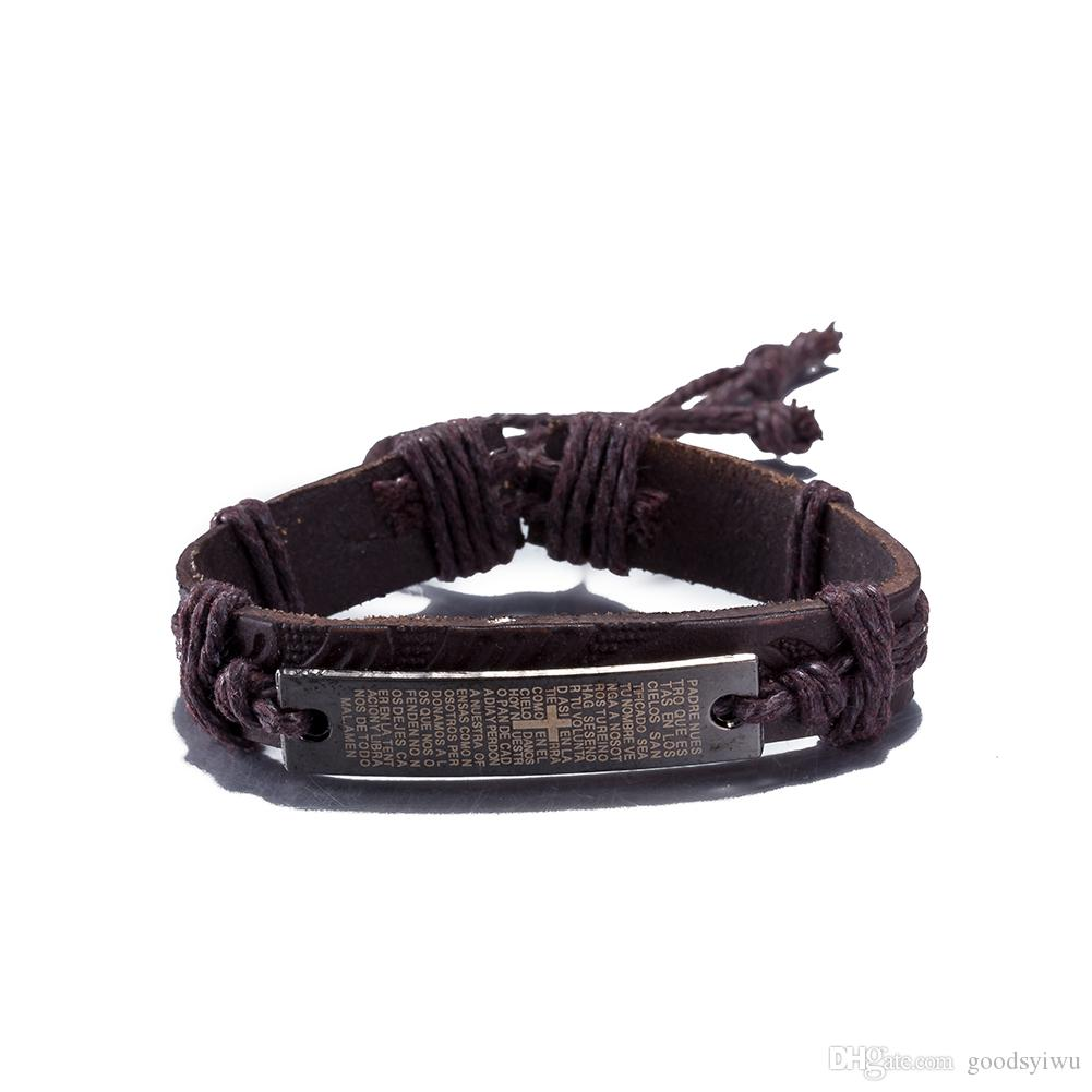 New Brand Hot Sale Vintage Leather Bracelet Metal Cross Jesus Tag Letter Believe Adjustable Wax Cord Bangle for Women Men Friendship Jewelry