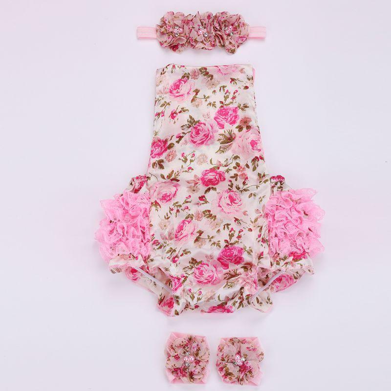 GROSSES SOLDES!!! Floral bébé dentelle barboteuse pour bambin bandeau ensemble de chaussures, ropa bebe vêtements d'été pour bébé boutique, nouveau-né bébé fille vêtements 2 ensembles /