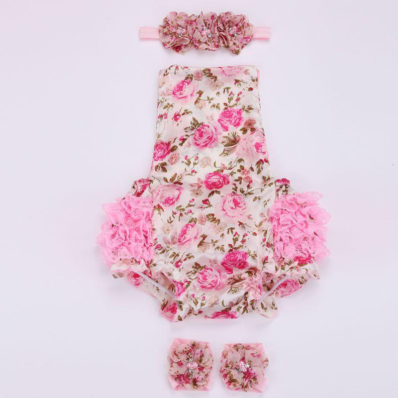 VENDA IMPERDÍVEL!!! Rendas bebê floral romper para criança cabeça sapato set; ropa bebe boutique roupas de verão infantil; roupas recém-nascidas menina /