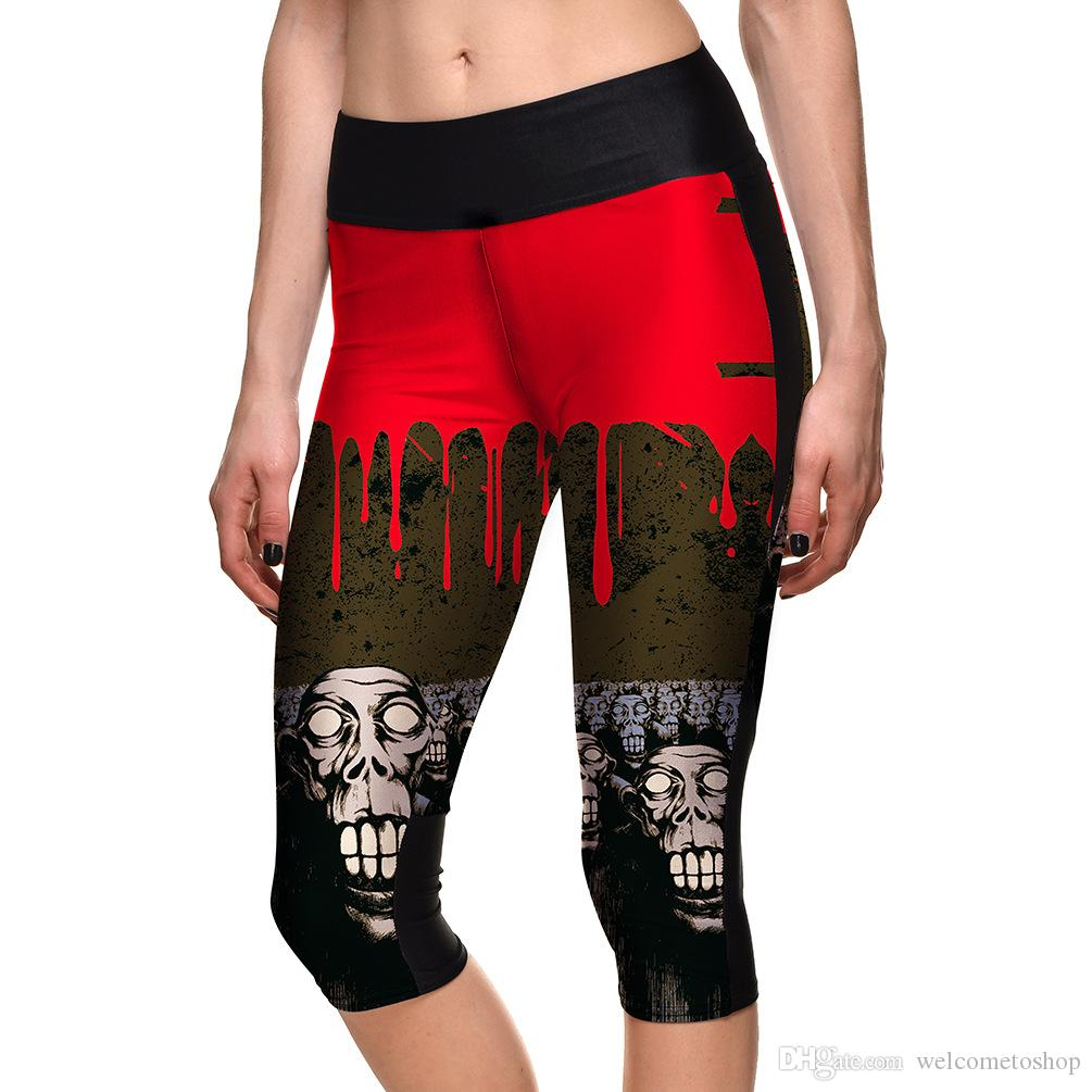 4476f6d267b7 Discount Hot Womens Fashion Halloween Graffiti Print Slim Cropped Leggings  For Female Plus Size Skull Digital Printing Pencil Capri Pants From China  ...