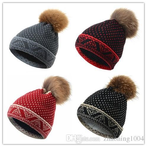 77a40504c21 Quality Removable Real Mink Fox Fur Pom Poms Ball Acrylic Beanies ...