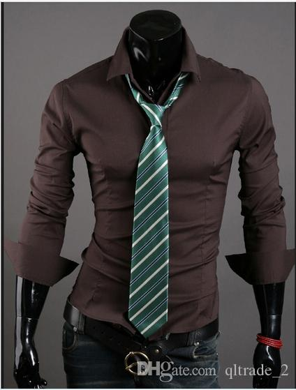 2016 VSKA 새로운 봄 비즈니스 셔츠 야생 단색 슬림 캐주얼 남성 지적 칼라 긴팔 셔츠