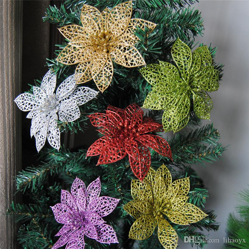 15cm Shiny Artificial flowers Wedding Party Decoration flower Christmas Tree Decorations new year festive party supplies TO113