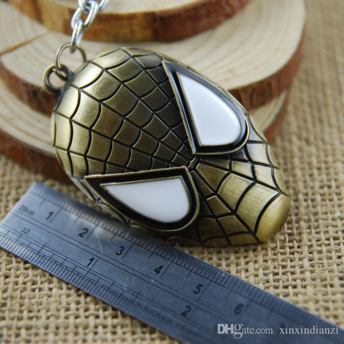 Spiderman Mask Alloy Pendent Keychain Spider Keychain Cool Keychain Movie Comics Keychain Children Key Rings K25L