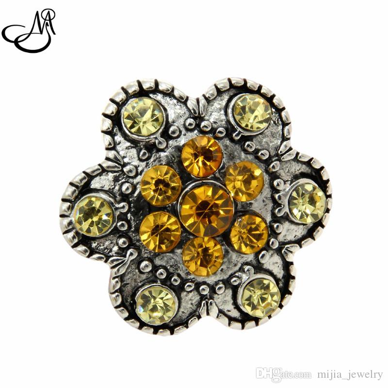 wholesale 18mm button snap jewelry crystal ginger snap button charm fit leather bracelets MIJ522