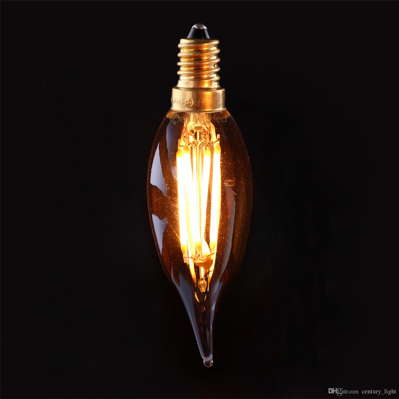 vintage led filament bulb 4w 2200k gold tint edison c32t flame tip small tail style e12 e14 base. Black Bedroom Furniture Sets. Home Design Ideas
