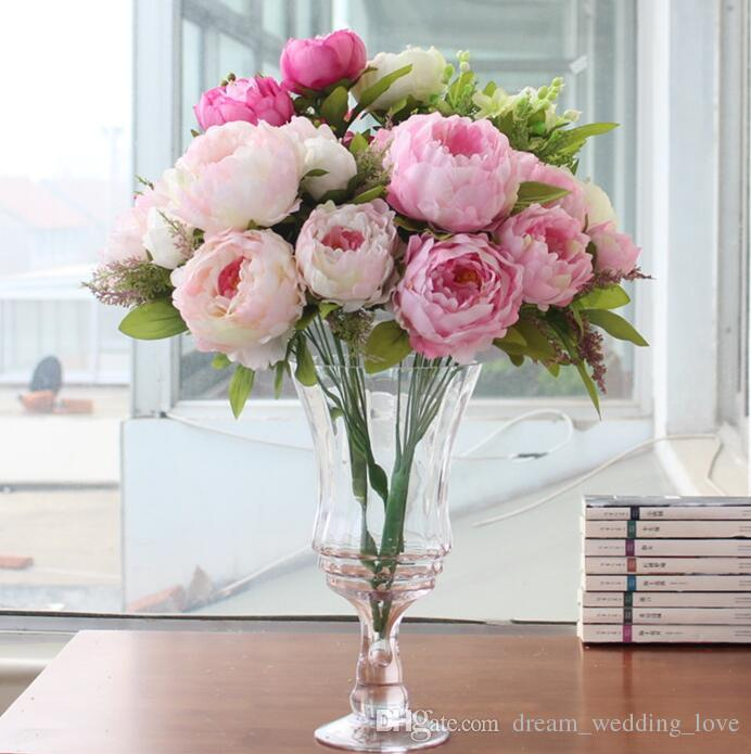 Best peony beautiful flower home decoration hand made artificial best peony beautiful flower home decoration hand made artificial peony bunch flowers bridal accessories garden bulk runners 7 flower peony heads under 714 mightylinksfo