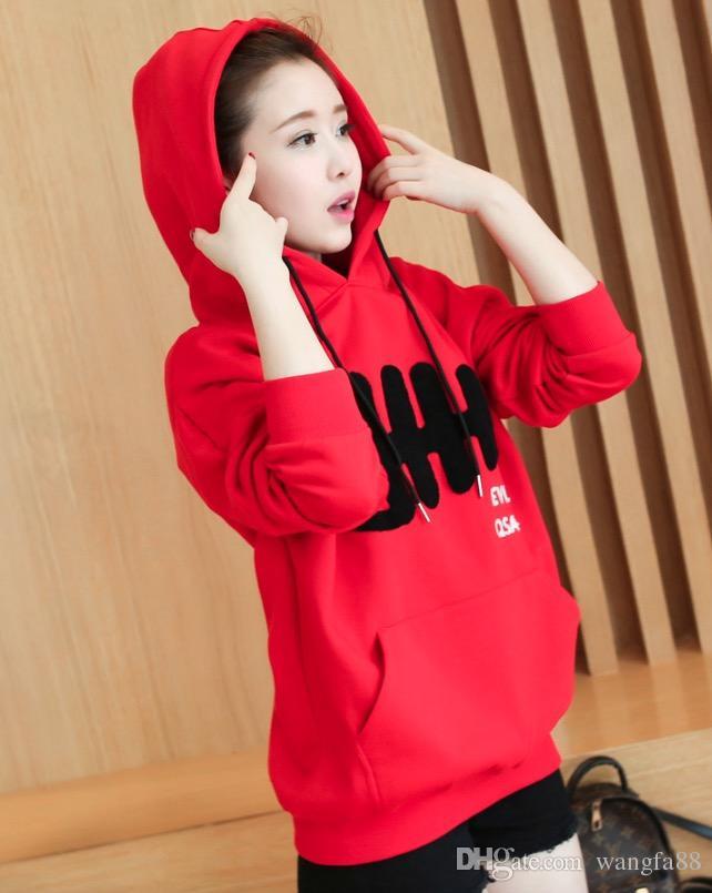 Le donne incinte di maternità maglione rosso moda autunno e inverno le donne con maglione di cachemire incappucciato con cappuccio maniche lunghe donne incinte grandi