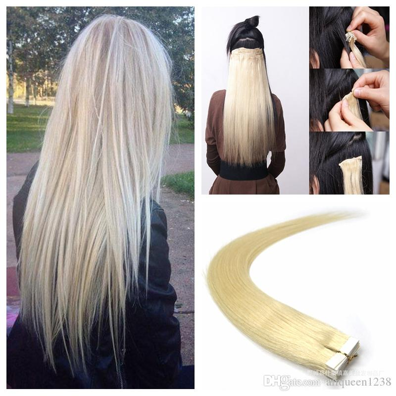 100g Tape In Human Hair Extensions 18 20 22 24inch 613 Beach Blonde