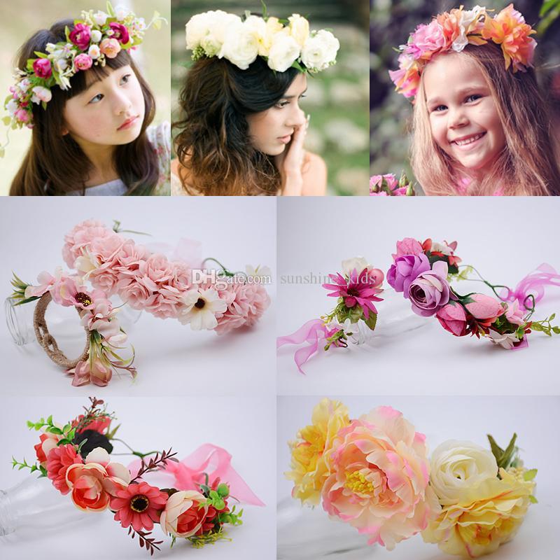 Children Flower Crown Bride Wedding Head Garland Girls Hair Accessories Hoop Kids Wreath Stick Princess Hairband Headdress Headpieces Blue