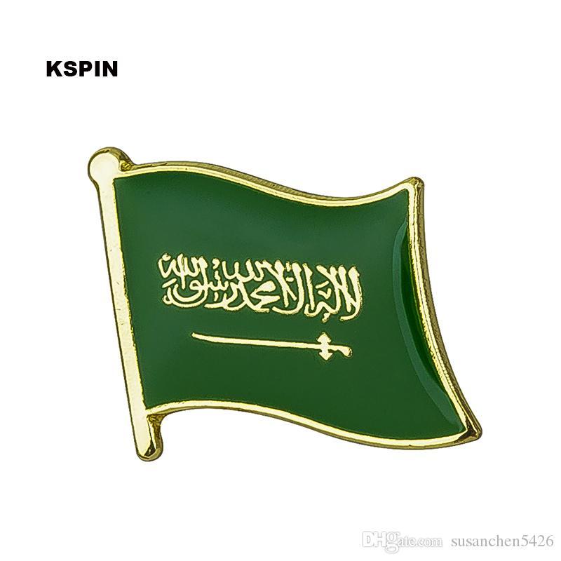 Livraison gratuite le drapeau KS-0157 de drapeau d'insigne de drapeau en métal de l'Arabie saoudite
