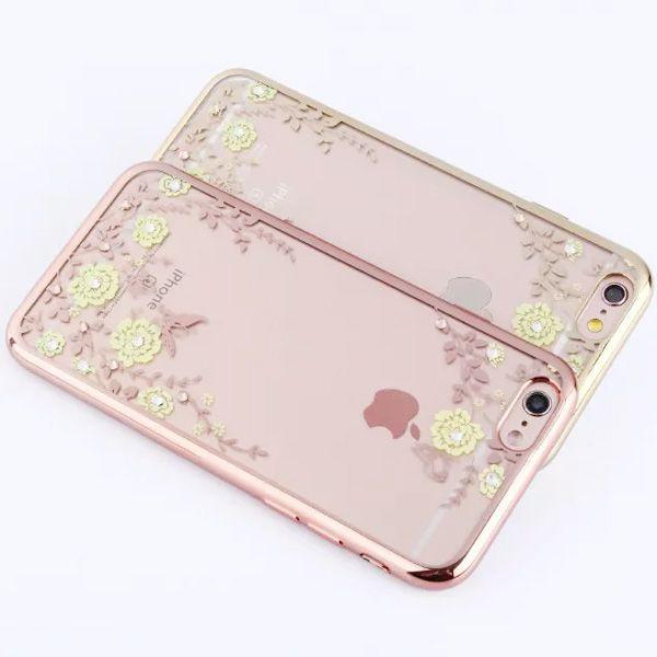 Flower Print Chrome Transparent TPU Gel Soft Back Cover Case for iphone 5/5S /6/6S/6 plus/6s plus