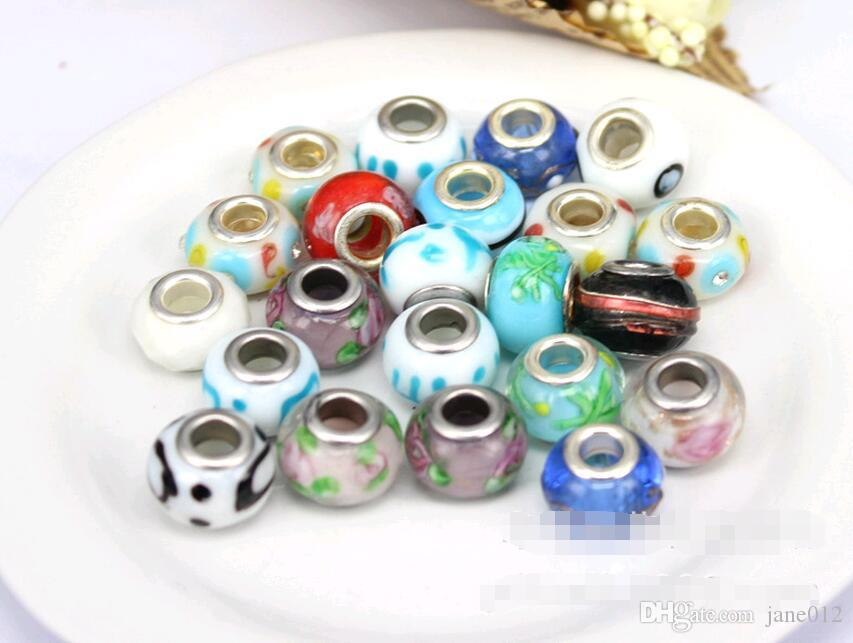 새로운 MIC 다채로운 Rondelle 모듬 된 큰 구멍 스페이서 구슬 느슨한 구슬 맞는 유럽 팔찌 14mm 보석 DIY 판매