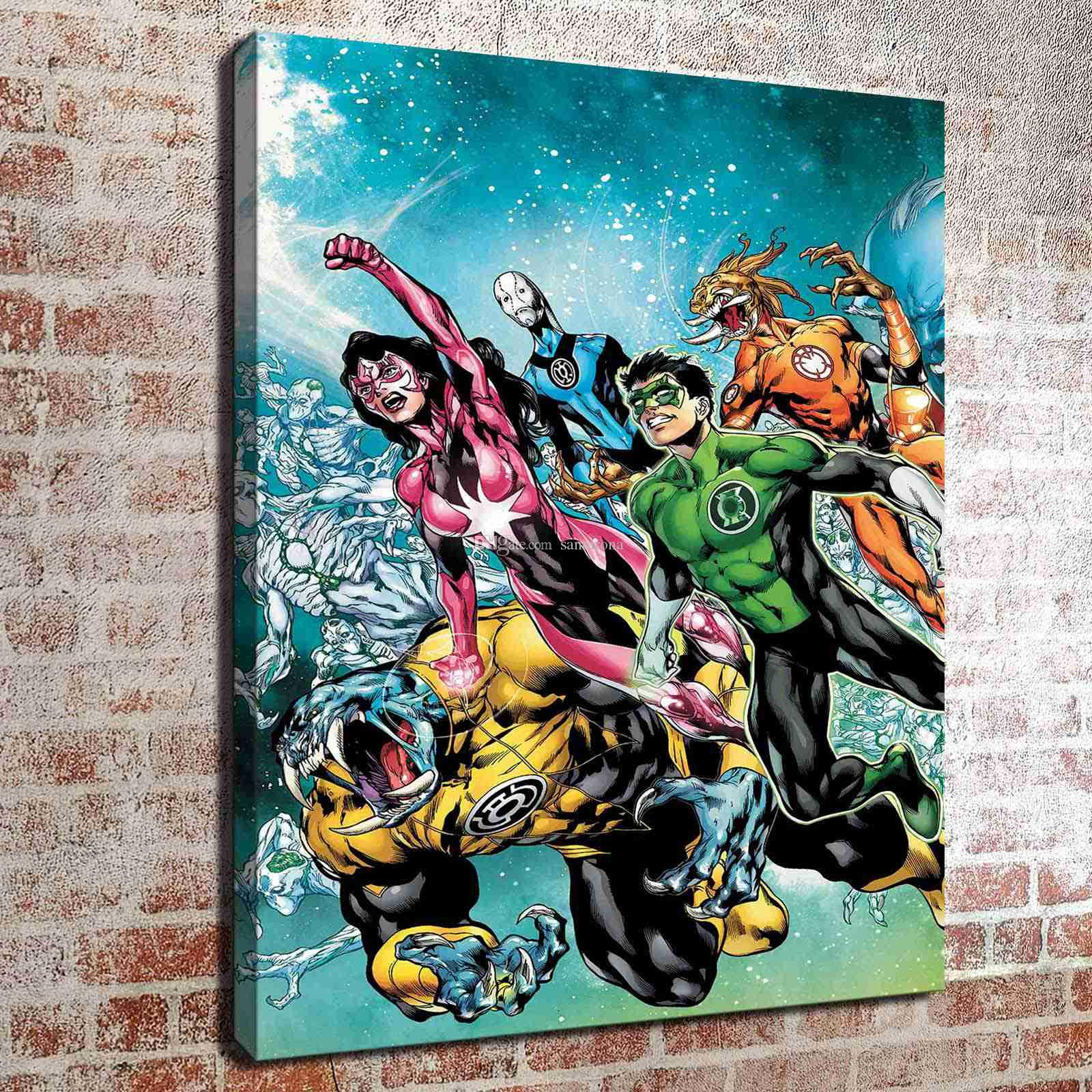 2018 No Frame Green Lantern New Guard Hd Canvas Print Wall Art Oil Painting Pictures Home Decor Bedroom Living Room Kitchen Decoration From Santarona ... & 2018 No Frame Green Lantern New Guard Hd Canvas Print Wall Art Oil ...