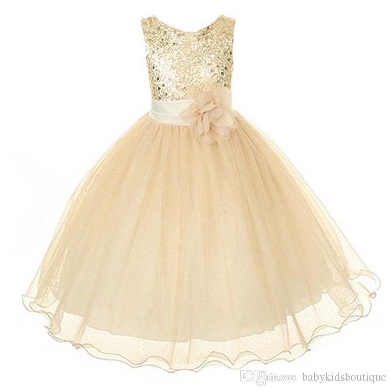 New Style Girl Dress Cute Paillettes senza maniche Vest Princess Lace Dress Baby Kids Party Matrimonio Damigella d'onore Vestido