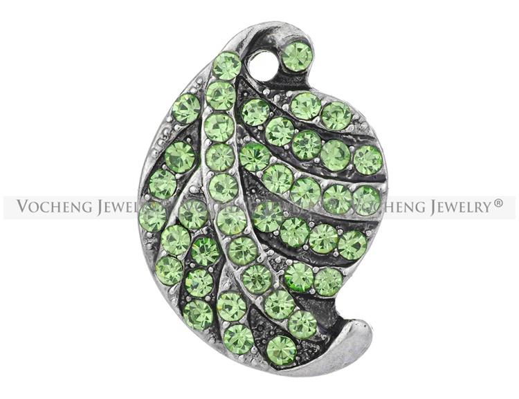 NOOSA 18mm Hoja jengibre Snap es Bling Rhinestone Charm Jewelry VOCHENG Vn-1273