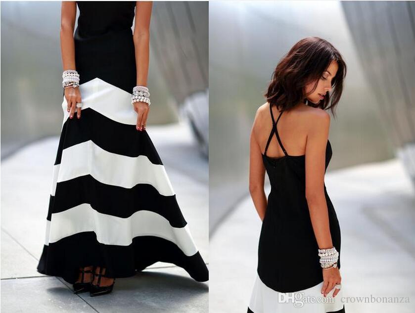 Vestido maxi rayas blanco y negro para mujer vestido sin respaldo vestidos de verano vestidos formales noche Vestido de noche largo rayas Sexy maxi para mujer