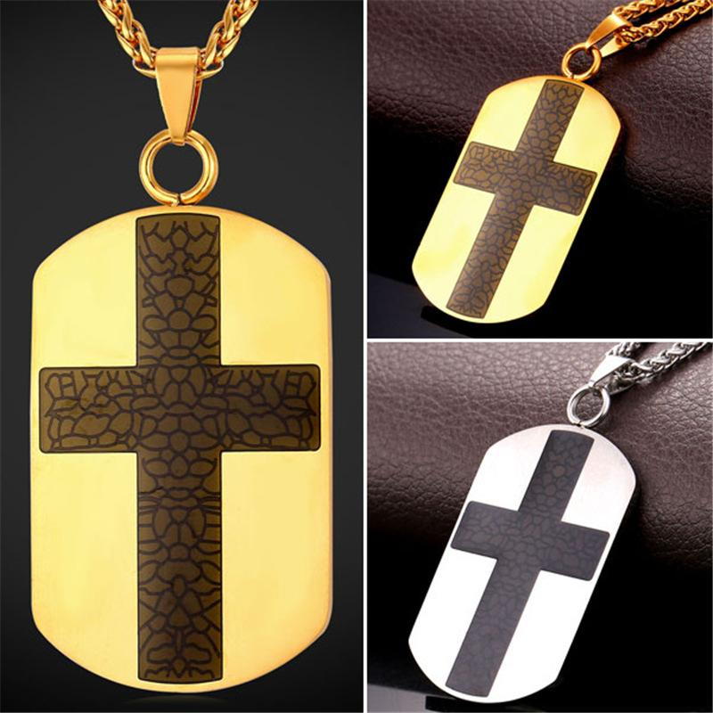 Wholesale u7 new dog tag cross necklace high quality enamel wholesale u7 new dog tag cross necklace high quality enamel stainless steel men 18k gold plated christian pendant for men religious jewelry charm bracelets audiocablefo