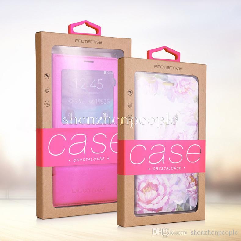 Красочный дизайн личности Роскошные окна ПВХ Упаковка Розничная упаковка Бумажная коробка для мобильного телефона Чехол для мобильного телефона Подарочная упаковка Аксессуары DHL