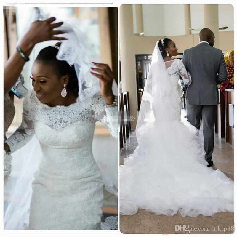 African Vintage Mermaid Lace Wedding Dresses Plus Size Long Sleeve Appliques Sequined Ruffle Trains 2016 Nigerian Bridal Gowns Cheap Modern