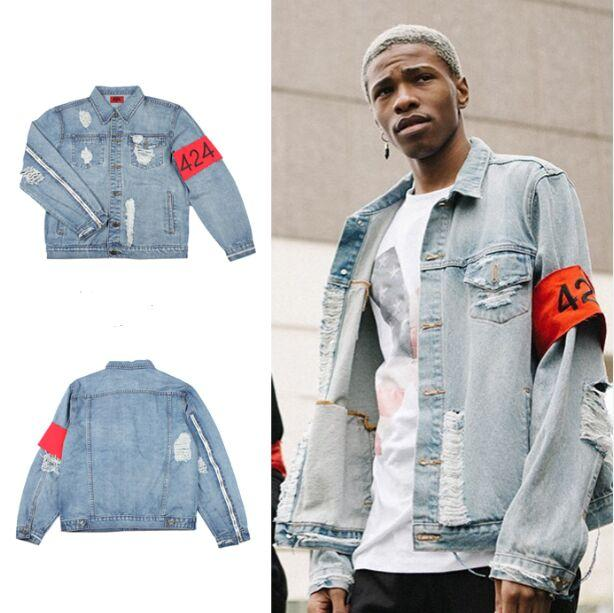 2a15c4cde1b Hip Hop Mens Clothes Brand Clothing Fear Of God FourTwoFour 424 Spring  Summer Women Rockstar Jeans Designer Ripped Denim Jacket Mens Jackets Coats  Jacket ...