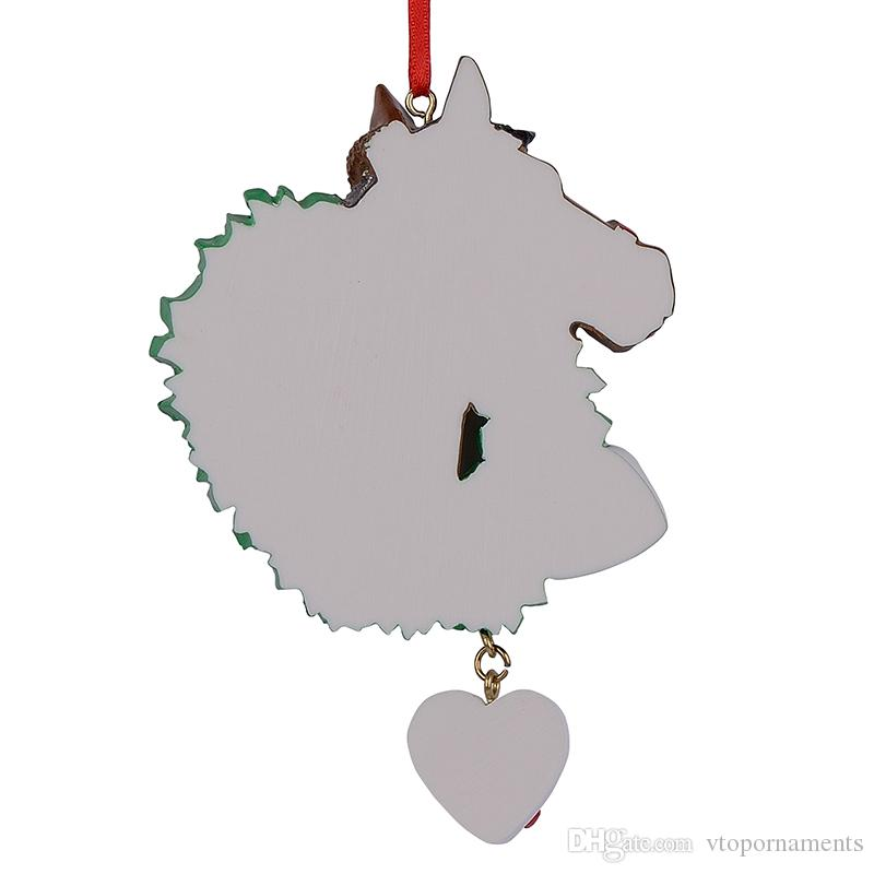 Horse with Wreath Personalized Christmas Ornaments As Craft Souvenir For Gifts or For Home Decorations
