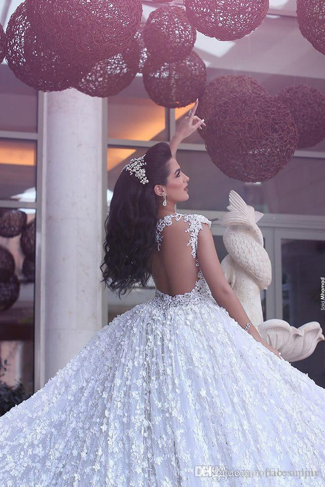Vestidos De Noiva 2018 Luxury Arabic Wedding Dresses Said Mahamaid Capped Sleeves Open Back Sequins Floral Cathedral Bridal Gowns