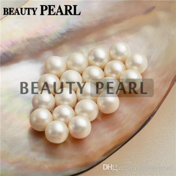 1ca443e1b17e Compre 50 Piezas Venta Al Por Mayor 9 9.5mm Perlas Redondas Blancas De Agua  Dulce Perlas Sueltas Perlas Cultivadas Medio Perforado O No Perforado A   53.3 ...
