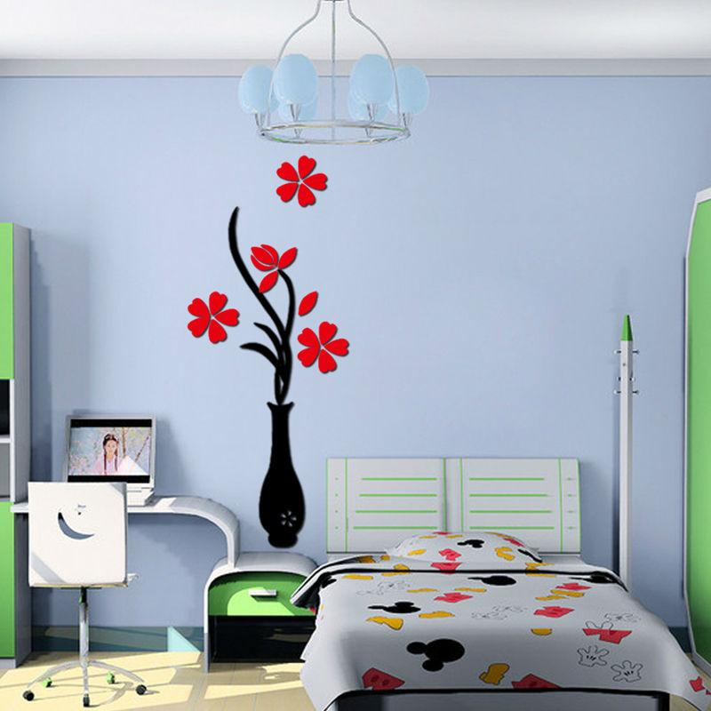 Vase Plum Flower Crystal Arcylic 3d Wall Stickers Home Room Tv Wall ...