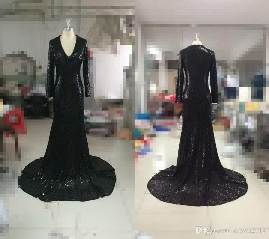 Sexy Black Mermaid Long Prom Dresses 2019 Sequin Long Sleeve V-neck Formal Party Evening african Dresses