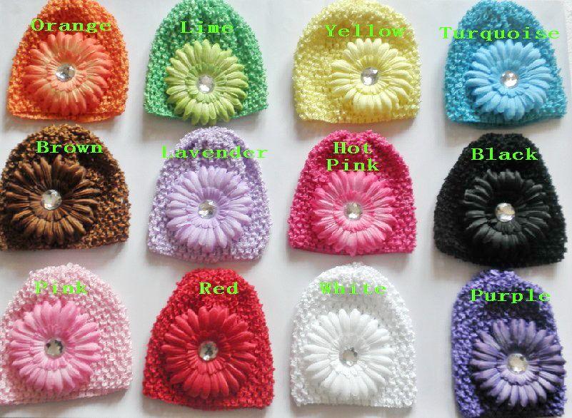 50ピースのベビーワッフルキャップかぎ針編みの帽子の髪の花クリップビーニーleily牡丹デイジーフラワーガール幼児ストレッチキャップMZ9111