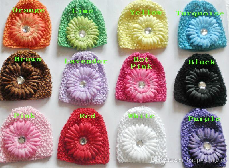 baby vaffel kepsar virka hattar hår blomma clips beanie med lilja peony daisy blomma flicka toddler stretchy caps mz9111